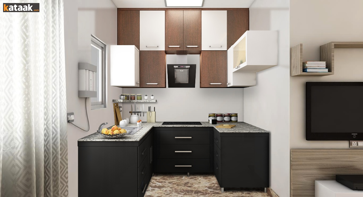 Kitchen placement of cabinets rather than placing cabinets horizontally which consume a lot of space try stacking them one over another